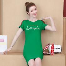 Dress Summer 2020 Black, red, green M,L,XL,2XL,3XL Mid length dress singleton  Short sleeve commute Crew neck High waist Hand painted Socket other routine Korean version Printing, splicing