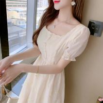 Dress Summer 2021 light yellow S,M,L,XL Miniskirt singleton  Long sleeves commute square neck High waist Socket A-line skirt routine Others Type A