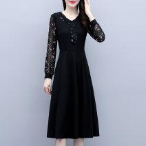 Dress Spring 2021 black M [90-105 Jin], l [105-115 Jin], XL [115-130 Jin], 2XL [130-145 Jin], 3XL [145-160 Jin], 4XL [160-180 Jin], 5XL [180-200 Jin] Mid length dress Fake two pieces Long sleeves commute V-neck Solid color other routine Korean version zipper