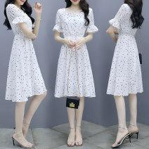 Dress Summer 2021 white S,M,L,XL Mid length dress singleton  Short sleeve commute square neck middle-waisted Socket A-line skirt pagoda sleeve Others Korean version