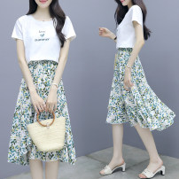 Dress Summer 2021 Picture color S,M,L,XL Mid length dress Two piece set Short sleeve commute Crew neck Elastic waist Socket Irregular skirt routine lady