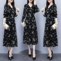 Dress Autumn 2020 black 3XL,4XL,M,L,XL,2XL Mid length dress singleton  Long sleeves commute V-neck High waist Socket A-line skirt bishop sleeve Others Type A Korean version