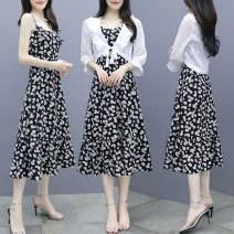 Dress Summer 2021 Black Floral suspender skirt, white sunscreen shirt with suspender skirt S,M,L,XL,2XL Mid length dress singleton  Sleeveless commute V-neck Decor Socket Big swing camisole Type A Retro zipper