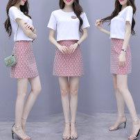 Dress Summer 2021 white S,M,L,XL Short skirt Two piece set Short sleeve commute Crew neck High waist Decor Socket A-line skirt routine Others Type A Korean version zipper