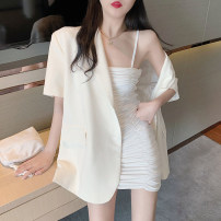 Dress Summer 2020 White pleated skirt, black pleated skirt, suit coat Average size Mid length dress Two piece set Sleeveless commute Elastic waist Solid color other A-line skirt camisole 18-24 years old Type H Other / other fold 31% (inclusive) - 50% (inclusive) other cotton