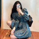 Dress Autumn 2020 Average size Middle-skirt singleton  Long sleeves Sweet V-neck High waist Decor zipper A-line skirt other Others 18-24 years old Type A Other / other fold More than 95% polyester fiber
