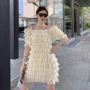 Dress Summer 2021 Apricot, black Average size Middle-skirt singleton  Short sleeve Sweet One word collar Loose waist Solid color Socket routine Others Type A Other / other 9390# polyester fiber