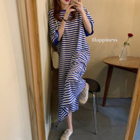 Dress Summer 2020 Blue and white, black and white Average size longuette Short sleeve commute Crew neck routine 18-24 years old Other / other More than 95% cotton