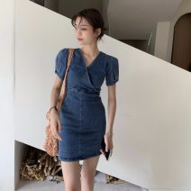 Dress Summer 2021 Graph color S, M Short skirt singleton  Short sleeve commute V-neck High waist Socket 18-24 years old Type A Other / other Korean version 16019#