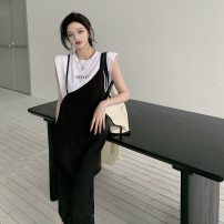 Dress Summer 2021 White T, suspender skirt Average size Mid length dress Two piece set Sleeveless commute Solid color camisole Other / other Korean version