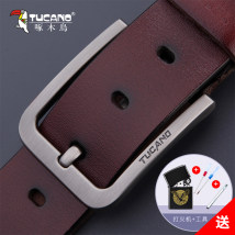Belt / belt / chain Double skin leather Earthy brown reddish brown black male belt leisure time Single loop Youth and middle age Pin buckle Glossy surface soft surface 3.7cm alloy alone Tucano / woodpecker WDD4032 Autumn and winter 2017