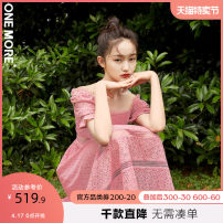 Dress Summer 2020 155/80A/XS 160/84A/S 165/88A/M Mid length dress singleton  Short sleeve commute square neck High waist Dot zipper A-line skirt puff sleeve 25-29 years old one more Korean version fungus More than 95% polyester fiber Polyester 100% Pure e-commerce (online only)