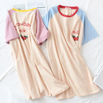 Nightdress Cotton wool Strawberry milk pink plug-in sleeve nightdress, strawberry milk blue plug-in sleeve nightdress Average size Sweet Short sleeve Living clothes Middle-skirt summer Solid color youth Crew neck cotton printing More than 95% Knitted cotton fabric
