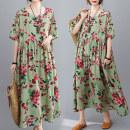 Women's large Summer 2020 Green flowers Dress singleton  commute easy moderate Socket Short sleeve literature Crew neck routine 25-29 years old Medium length