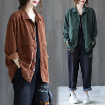Women's large Autumn 2020 Purple, coffee Large L [100-140 Jin recommended], large XL [140-180 Jin recommended] Jacket / jacket singleton  commute easy moderate Cardigan Long sleeves literature Half open collar Three dimensional cutting routine 25-29 years old Button