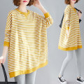 Women's large Spring 2021 Yellow and white stripes One size fits all [recommended 100-210 kg] Sweater / sweater singleton  commute easy moderate Socket Long sleeves literature Crew neck routine 25-29 years old
