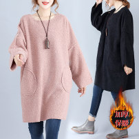 Women's large Winter 2020, autumn 2020 Black, skin pink Large size average size [100-200kg recommended] Dress singleton  commute Straight cylinder thickening Socket Long sleeves literature Crew neck Three dimensional cutting routine 25-29 years old Medium length