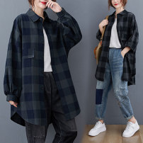 Women's large Spring 2021 Black, Navy Large size average size [100-200kg recommended] shirt singleton  commute Straight cylinder moderate Cardigan Long sleeves literature Polo collar routine routine 30-34 years old Button