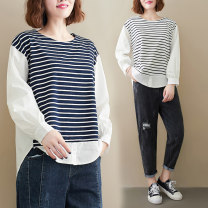 Women's large Spring 2021 White, blue Large size average size [100-200kg recommended] shirt singleton  commute easy moderate Socket Long sleeves Crew neck routine 25-29 years old