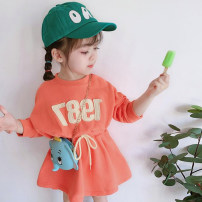 Dress orange female Other / other 80cm,90cm,100cm,110cm,120cm,130cm Other 100% spring and autumn leisure time Long sleeves tm83lg270 2 years old, 3 years old, 4 years old, 5 years old, 6 years old, 7 years old