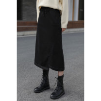 skirt Winter 2020 S,M,L black longuette commute High waist A-line skirt Solid color Type A 18-24 years old knitting pocket