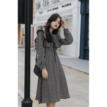 Dress Autumn 2020 Black, brown S,M,L longuette Two piece set Long sleeves commute Crew neck Broken flowers A-line skirt routine 18-24 years old Type A Korean version printing