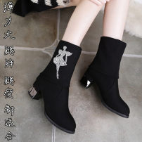 Boots 35 36 37 38 39 40 black Elastic cloth Other / other Middle heel (3-5cm) Thick heel Elastic cloth Short tube Round head cloth cloth Spring of 2018 Sleeve comfortable rubber Solid color Elastic boots cloth Youth (18-40 years old) middle age (40-60 years old) spring and autumn rhinestone One One