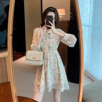 Dress Spring 2021 Apricot S,M,L Middle-skirt singleton  Long sleeves commute V-neck High waist lattice Socket A-line skirt routine Others 25-29 years old Type A Other / other lady Zipper, print, stitching, belt 91% (inclusive) - 95% (inclusive) Chiffon polyester fiber