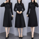Dress Spring 2020 black S,M,L,XL,2XL,3XL,4XL longuette singleton  Long sleeves commute stand collar middle-waisted Solid color zipper Big swing shirt sleeve Others 25-29 years old Type A Simplicity 71% (inclusive) - 80% (inclusive) other other