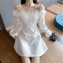 Dress Autumn 2020 White, black S, M Middle-skirt Long sleeves commute camisole Korean version
