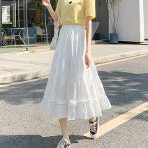 skirt Spring 2021 S,M,L,XL longuette commute High waist Cake skirt Solid color Type A 71% (inclusive) - 80% (inclusive) Chiffon other Lotus leaf edge Korean version