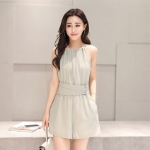 Casual pants Grey green, beige S,M,L,XL Summer 2021 shorts Jumpsuit Natural waist JNFGN7016 Other / other
