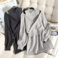 Dress Autumn of 2019 Black, gray Average size Short skirt Two piece set Long sleeves commute High waist Solid color Socket Bat sleeve Others Other / other Korean version C377 31% (inclusive) - 50% (inclusive)