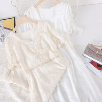 Dress Summer 2021 Apricot, white M, L Mid length dress singleton  Short sleeve commute Socket Type A Other / other Korean version other