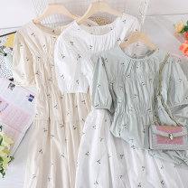 Dress Summer 2021 White, green, apricot Average size Mid length dress singleton  Short sleeve commute V-neck Socket Type X Other / other Korean version other