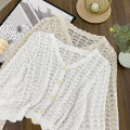 Lace / Chiffon Spring 2021 White, apricot Average size three quarter sleeve commute Cardigan singleton  easy Regular Solid color Other / other Hollowing out Korean version