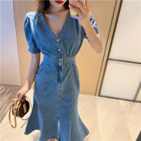 Dress commute Solid color other 25-29 years old cotton 31% (inclusive) - 50% (inclusive) Other Type A Denim V-neck High waist other Summer 2021 puff sleeve Medium length skirt singleton  Short sleeve S=1,M=2,L=3,XL=4
