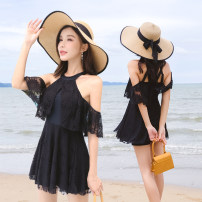 one piece  JAZERO M (70-100kg), l (100-110kg), XL (110-120kg), 2XL (120-130kg) Skirt one piece Steel strap breast pad Spandex, polyester, others female Short sleeve Casual swimsuit Solid color Lotus leaf edge