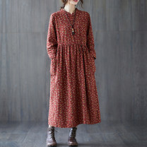 Dress Spring 2021 Navy, coffee, brick red, spring blue M,L,XL,2XL longuette singleton  Long sleeves commute stand collar Loose waist Decor Socket A-line skirt routine Type A Other / other ethnic style printing