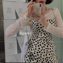 Dress Summer 2021 12951 lace shirt, 12952 dress M. L, average size Short skirt singleton  Sleeveless commute square neck High waist other Socket A-line skirt other Others 18-24 years old Type A Korean version 12951+12952 other other