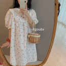 Nightdress Other / other Red cherry, yellow cherry Average size Sweet Short sleeve Leisure home Middle-skirt summer Plants and flowers youth Crew neck cotton printing More than 95% other