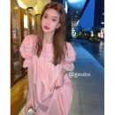 Dress Summer 2021 Pink (with lining) Average size longuette singleton  Short sleeve commute Crew neck High waist Solid color Socket A-line skirt puff sleeve Others 18-24 years old Type A Korean version 6186# 31% (inclusive) - 50% (inclusive) other