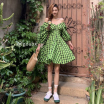 Dress Summer 2021 green S,M,L Middle-skirt singleton  Short sleeve commute V-neck High waist lattice Socket A-line skirt puff sleeve Others 18-24 years old Type A Korean version 6280# 81% (inclusive) - 90% (inclusive) other other