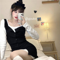 Dress Spring 2021 Black strap skirt with long white background Average size Short skirt Two piece set Long sleeves commute square neck High waist Solid color Single breasted A-line skirt other straps 18-24 years old Type A Korean version 3118# 31% (inclusive) - 50% (inclusive) other other