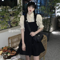 Dress Summer 2021 Fake two piece set S,M,L Short skirt singleton  Sleeveless commute other High waist Solid color Socket A-line skirt routine straps 18-24 years old Type A Korean version A696# 81% (inclusive) - 90% (inclusive) other other