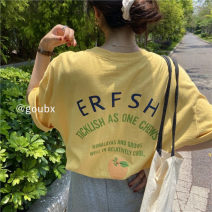 T-shirt White, yellow, pink Average size Summer 2020 Short sleeve easy Regular routine commute other 96% and above 18-24 years old Korean version youth letter 03062#