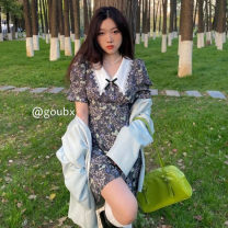 Dress Spring 2021 skirt Average size longuette singleton  Short sleeve commute Polo collar High waist Broken flowers Socket A-line skirt routine Others 18-24 years old Type A Korean version printing K528 other other