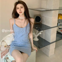 Dress Summer 2021 Blue sweater, khaki sweater Average size Short skirt singleton  Sleeveless commute Crew neck High waist Solid color Socket One pace skirt routine camisole 18-24 years old Type H Korean version More than 95% other other