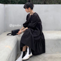 Dress Spring 2021 Apricot, black Average size Mid length dress singleton  Long sleeves commute square neck High waist Solid color Socket A-line skirt routine Others 18-24 years old Type A Korean version other other