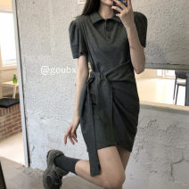 Dress Summer 2021 Dark grey, black Average size Short skirt singleton  Short sleeve commute Polo collar High waist Solid color Socket other other Others 18-24 years old Type H Korean version Bandage other other
